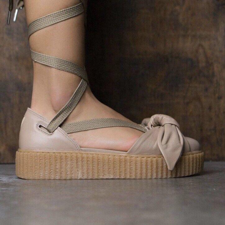 Nuova fenty puma sz 7,5 arco creeper merletto sandalo scarpe naturale avena beige