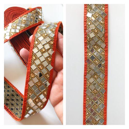 1 Yards Latest Indian Mirror n Stone work Fabric Dupatta Sari Border lace Trim