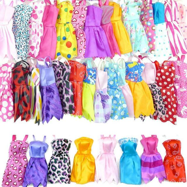 20pcs Dolls Handmade Party Clothes Dress Outfit for Barbie Doll Gift Multicolor