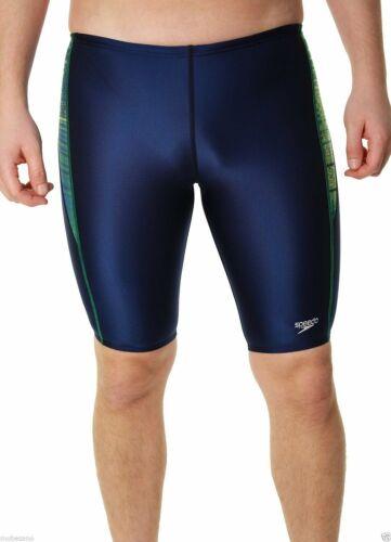 Speedo Boys Flash Line Race Jammer Swimsuit Waist Blue//Green Sizes 20-28
