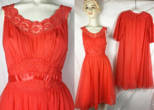 Sz 36 60s Vanity Fair 2 PC Set Gown Peignoir Orang