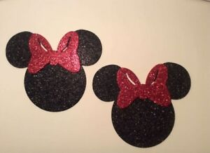 Glitter-Foam-Minnie-Mouse-Head-w-Red-Bow-Set-12-Die-Cuts-5-034-H-Party-Decorations
