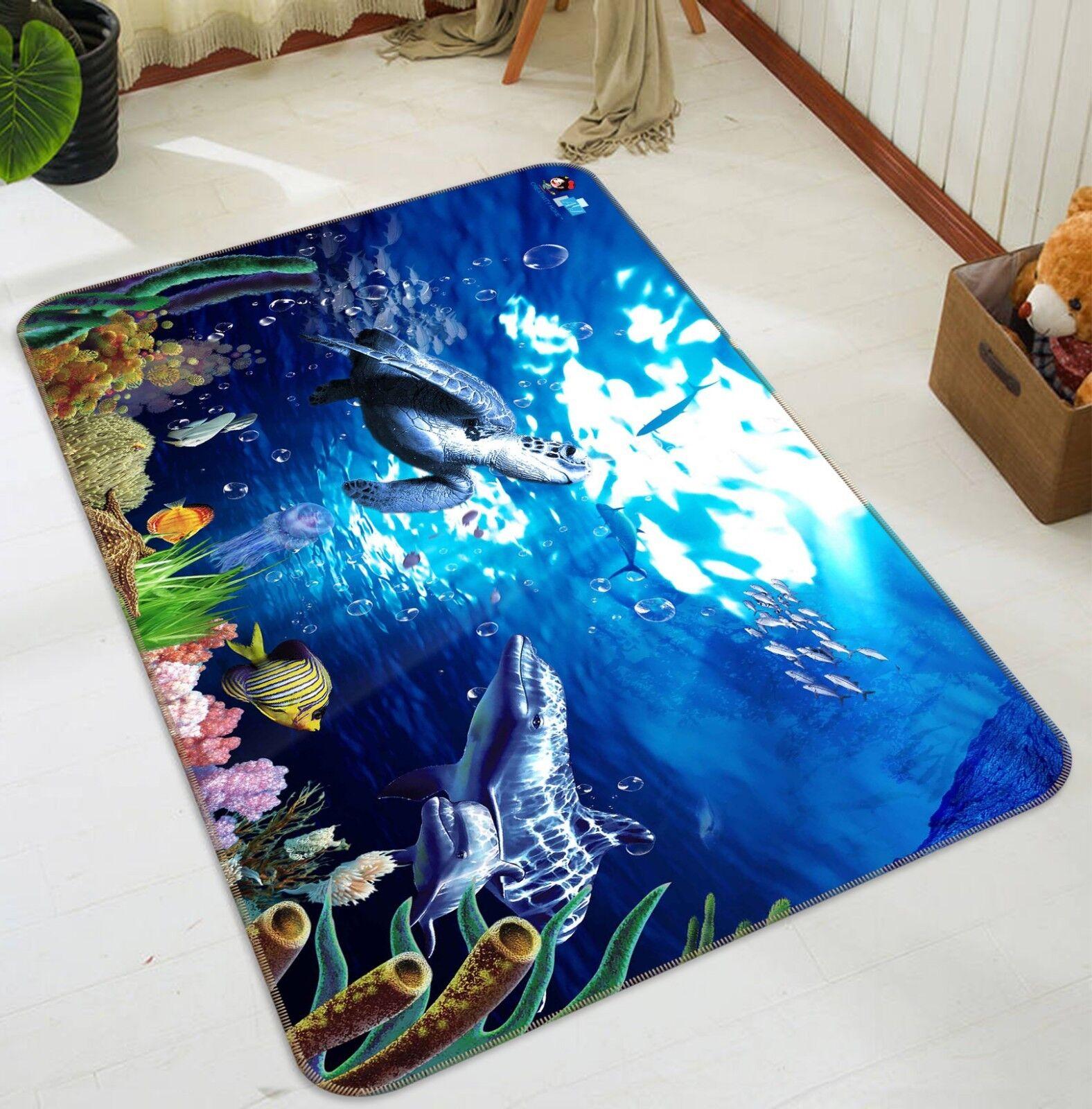 3D Turtle Ocean 0185 Non Slip Rug Mat Quality Elegant Photo Carpet US Carly