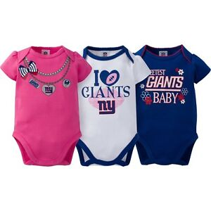 ad1cc4e9d New York Giants NFL Baby Girl 3-Pack Love Bodysuit Set, 0-3 Months ...