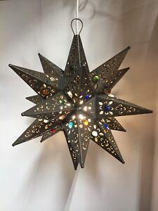 Image Is Loading Moravian Star Pierced Metal Gl Pendant Light Lamp