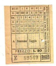 BIGLIETTO  TICKET  TRAM  STEL SERVIZIO   FILOVIARIO   SANREMO  TAGGIA   LIRE  80