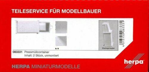 #083331 2 Stück HERPA 1:87//H0 LKW Aufbauten Bausatz Pressmüllcontainer
