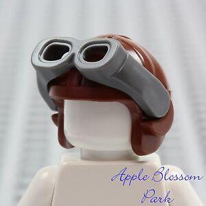 NEW-Lego-Minifig-Brown-Aviator-PILOT-HAT-Helmet-Cap-w-Gray-Goggles-Head-Gear