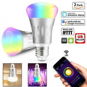 2Pcs-Wifi-Smart-Scene-Light-Bulb-LED-Dimmable-Work-With-Google-Home-Amazon-Alexa