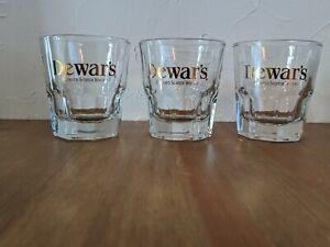 3 Dewar's Blended Scotch Whisky Heavy Bottom Glasses