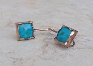 Antique-Rare-Handcrafted-14K-Yellow-Gold-Natural-Turquoise-Dangle-Earrings