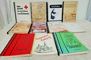 Vintage Lot of 11 Community, Civic, Church Spiral Cookbooks from North Carolina