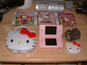 PINK-DS-LITE-CONSOLE-3-X-HELLO-KITTY-GAMES-CASE-CHARGER