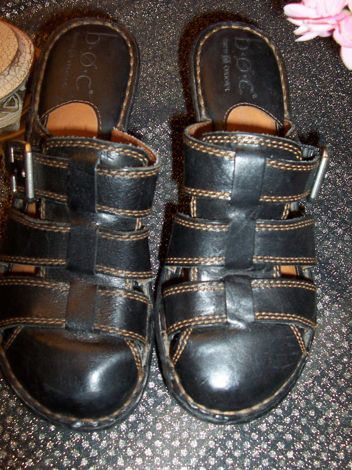 BORN concepts size 38 or with 7 US black leather with or brown stitching strappy mules` 2091e8