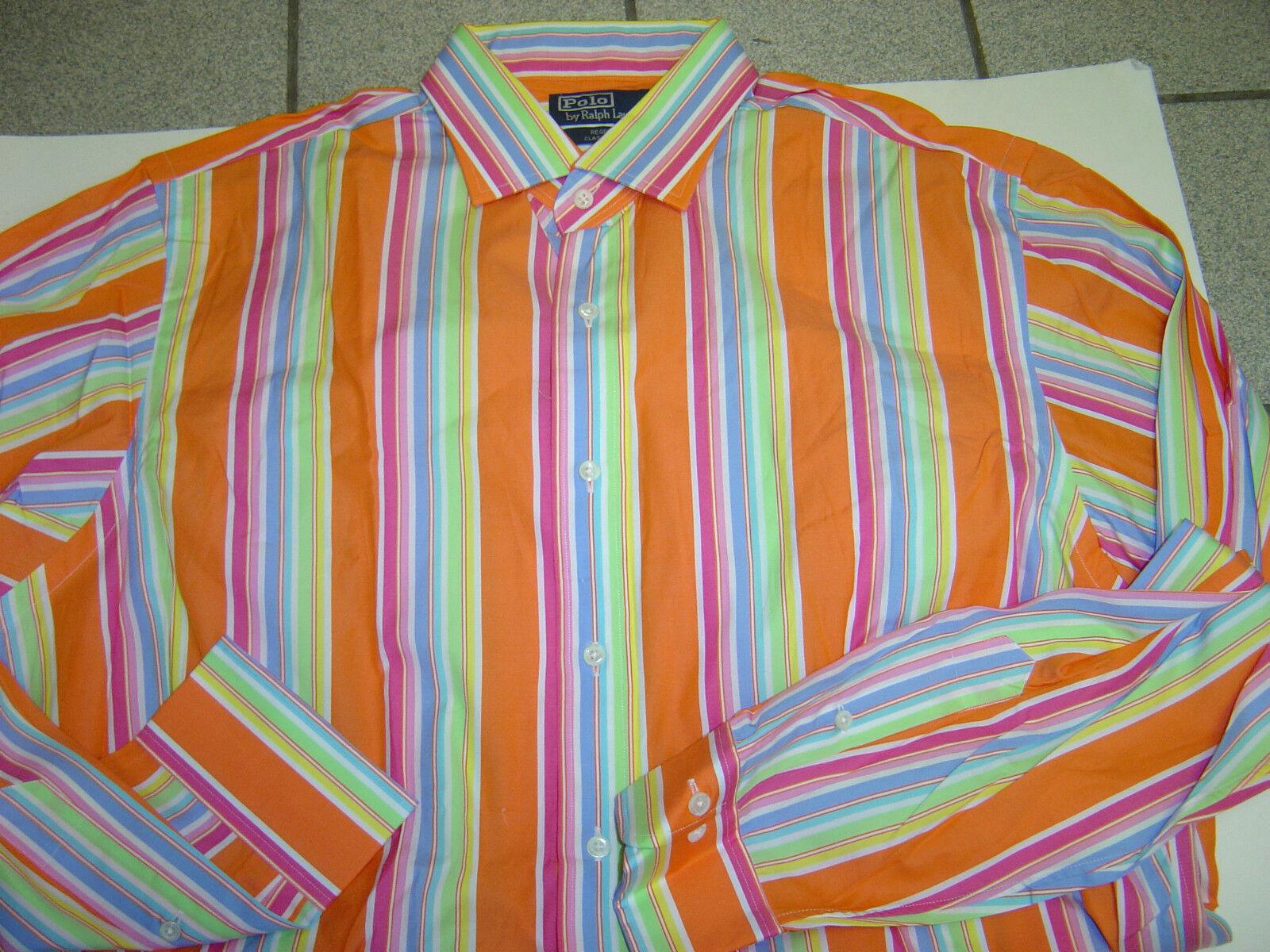 NEW Uomo RALPH LAUREN arancia-rosa REGENT STRIPED  REGENT arancia-rosa  L/S SHIRT SIZE XL  17   85 f2e803