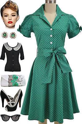 PLUS SIZE 50s Style GREEN POLKA DOT Tie Sleeve Full Skirt Rockabilly PINUP Dress