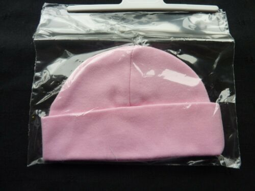 100/% COTTON NEWBORN BABY HATS IN PINK MADE IN UK FIRST SIZE NICE AND SMALL