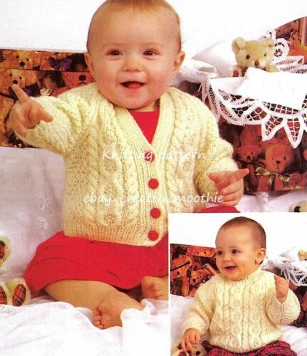 246 Baby Boys Girls Cable Cardigan and Sweater DK Knitting Pattern 16-22/'/'