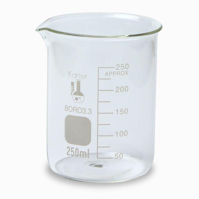 karter scientific 250 ml low form graduated glass beaker 3 ebay