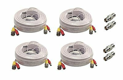 (4) Pack 25ft Pre-made All-in-One Video&Power for Night Owl  Security Camera-W