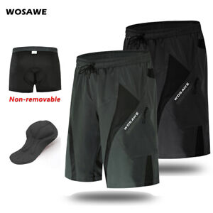 Mens-Cycling-Baggy-Shorts-Padded-MTB-Mountain-Bike-Loose-Fit-Short-Pants-Summer