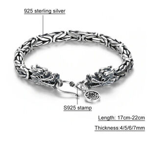 Byzantine-Solid-925-Sterling-Silver-Bracelet-Men-Dragon-Claw-Clasp-Free-Gift-Box