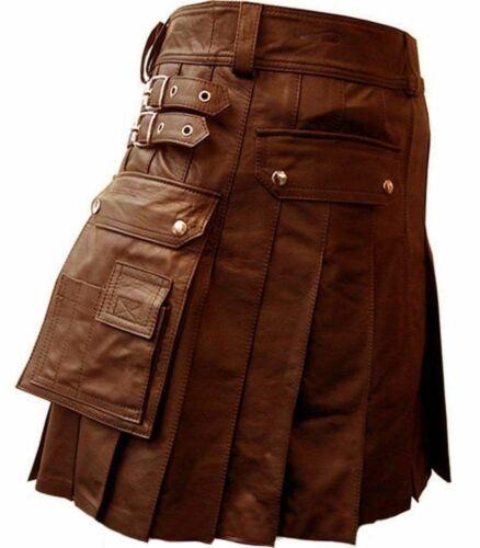 Men/'s Real Brown Leather Kilt //LARP Utility Kilt Gladiator Pleated Wedding Kilts