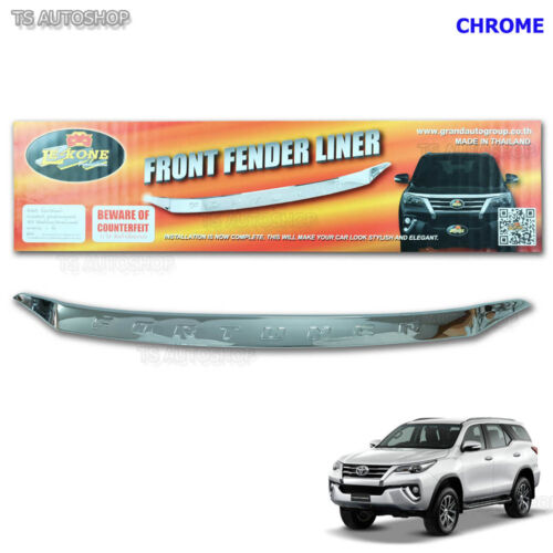 Chrome Hood Front Fender Liner Cover Fit Toyota Fortuner SUV 4x2 4x4 2016 2017
