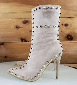 Top-Show-Nude-Cream-Vegan-Suede-Pointy-Toe-High-Heel-Gold-Studded-Ankle-Boots