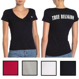 True-Religion-Women-039-s-Double-Puff-V-Neck-Tee-T-Shirt