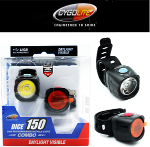 Cygolite Dice Bike Light Set 150 Head Lite & Dice 50 TailLight Lumens USB Bright