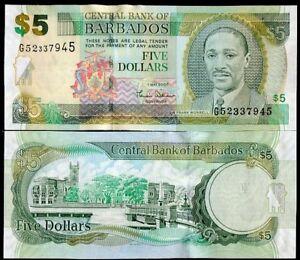 BARBADOS-5-DOLLARS-2007-P-67-UNC