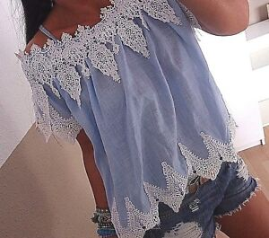 Musthave Chic Spitze M Shirt Cotton Blogger Trend L Neu S Blau Ibiza Bluse Boho PFwq84W