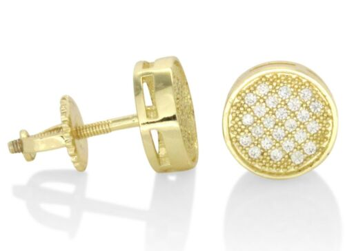 Men Women Round 8mm Gold or Silver Tone Micro Pave Cz Earrings Hip Hop Fashion