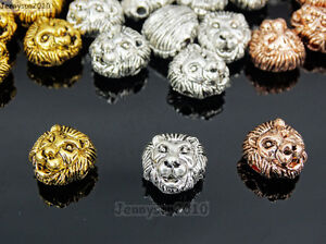 Solid-Metal-Lion-Head-Bracelet-Necklace-Connector-Charm-Beads-Silver-Gold-Rose