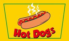 HOT DOGS FLAG 5' x 3' Fast Food Stall Cafe Burger Van Catering Trailer