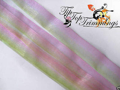 26MM TWO TONE ORGANZA SHEER CHIFFON RIBBON, DIFFERENT COLOURS AVAILABLE