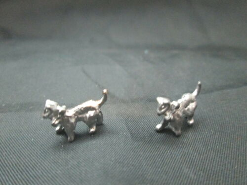 2 Dollhouse Miniature Unfinished Metal small Walking Cat