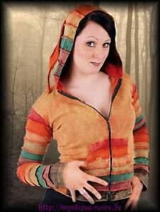 Gothic Hoodie Kapuzenjacke geschnürt schwarz//rot Elfe Gypsy Nepal Goa Ethnic Psy