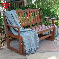 Wood Glider Bench Garden Furniture  Deck Patio Outdoor Yard Porch Chair Rocker