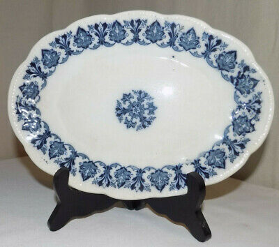 ware Plate Small Oval. Antique Blue And White Transfer