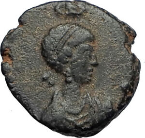 EUDOXIA-Arcadius-Wife-401AD-Authentic-Ancient-Roman-Coin-VICTORY-CHI-RHO-i67529