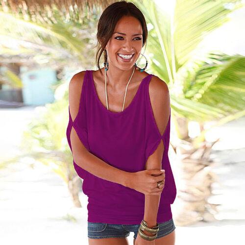 Damen Sommer Lose T-Shirt Kalte Schulter Tops Blusen Shirt Tunika Hemd Oberteile