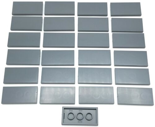 Lego 25 New Dark Bluish Gray Tile 2 x 4 Flat Smooth Pieces
