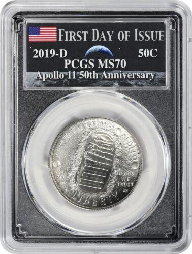 2019-D Apollo 11 50th Anniversary Commem Half PCGS MS70 FDOI Earth Rising Moon