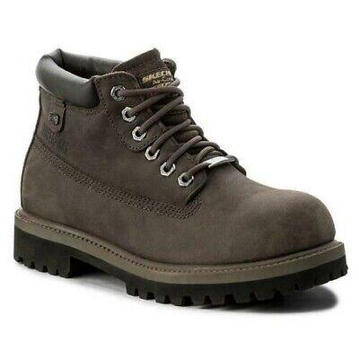 SKECHERS Men/'s Waterproof Nubuck Verdict Ankle Boots in Charcoal