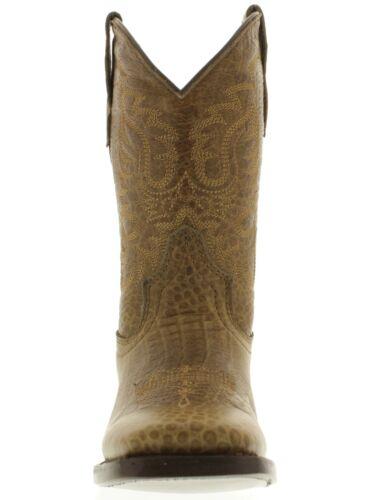 Children/'s Kids Boys Light Brown Alligator Western Rodeo Cowboy Riding Boots