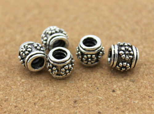 10pc//lot 4mm Hole European Zinc Alloy Antique Silver Spacer Beads Bangle Diy