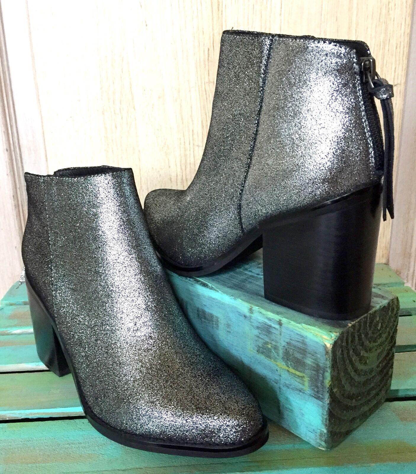 perfezionare NIB A Over A Pewter Metallic Leather Back Back Back Zipper Ankle stivali 37  Garanzia di vestibilità al 100%