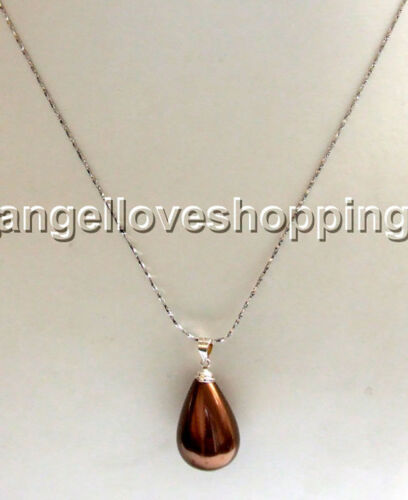teardrop mother of pearl pendant shell pendant silver chain bail gift chain